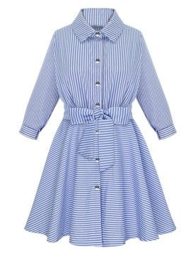 Shop Blue Mixed Stripe Bowtie Waist Long Sleeve Shirt Dress from choies.com .Free shipping Worldwide.$30.59