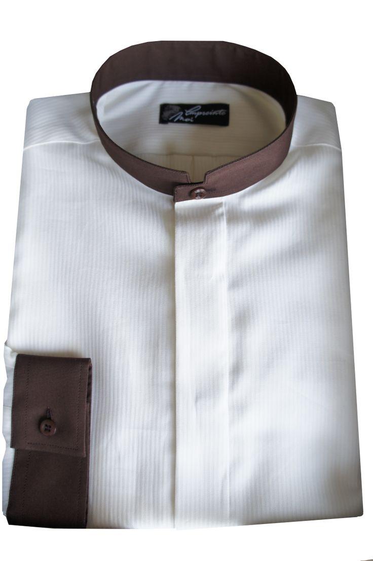 chemise sur mesure homme beige et chocolat col mao retrouvez tous nos mod les sur www. Black Bedroom Furniture Sets. Home Design Ideas