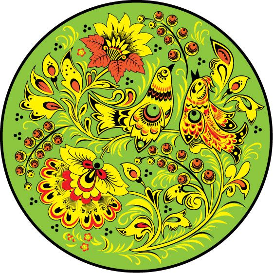 Folk Khokhloma painting from Russia. A round floral pattern with two birds in…