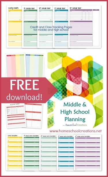 Homeschool Creations has a FREE set of middle and high school planning pages. These pages include record keeping, planning, course description, cr