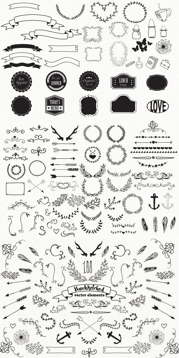 100 HandSketched Vector Elements #vector #doodle