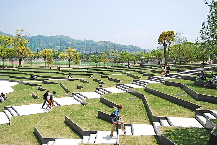terraced university landscapes | The terraced plaza is a place for both…