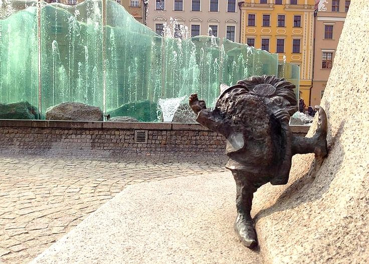 Different view /with a dwarf:)/ on fountain @ main square./ Wroclaw, Poland