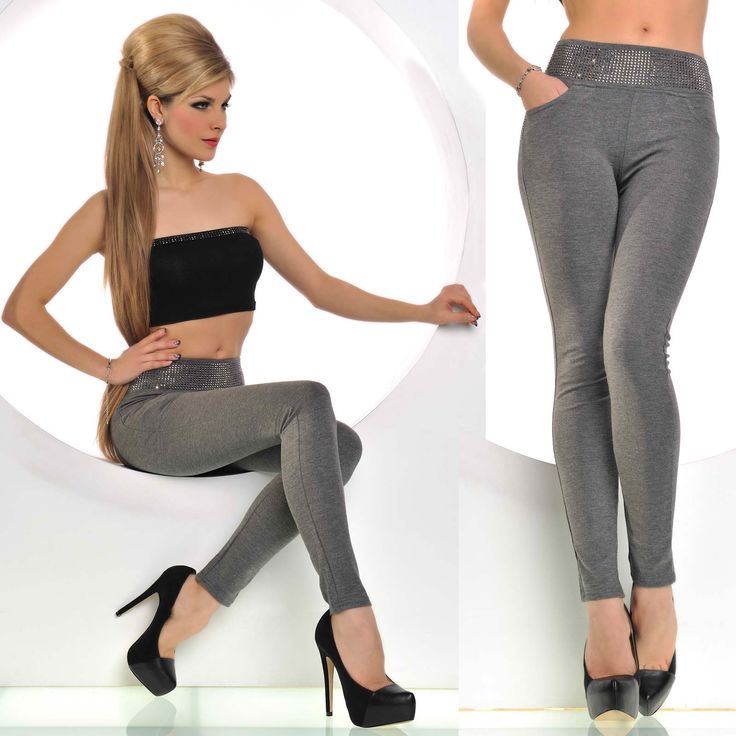 Pantaloni tip colanti Gri | New Fashion Romania  >> Click pe poza pentru a vedea pretul. #PantaloniDama