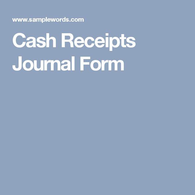 Cash Receipts Journal Form