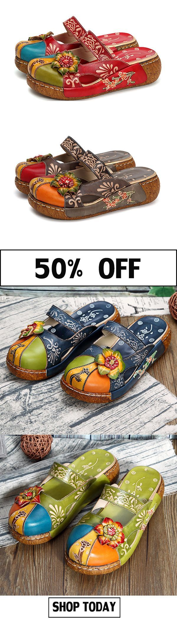 SOCOFY Vintage Colorful Leather Hollow Out Backless Flower Shoes#slippers #retro #shoes