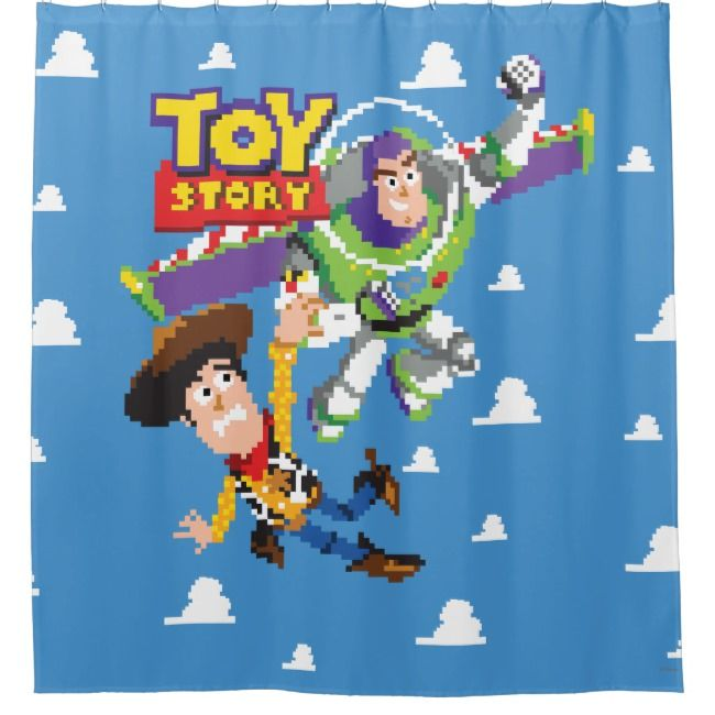 Toy Story 8bit Woody And Buzz Lightyear Shower Curtain Toy Story