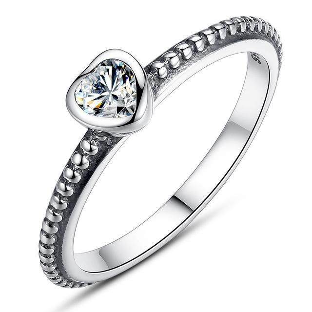 The Kiss Endless Love 925 Sterling Silver Stackable Ring Clear CZ