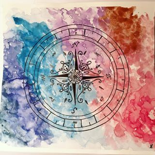 Tried to make a compass (will post the sketch too) and then color it as an abstract piece, but I'm not sure I love how it turned out. But still posting it, even the failures should be on an art & craft account.     #compass #waterpaint #watercolor #watercoloring #waterpainting #paint #color #water #abstract