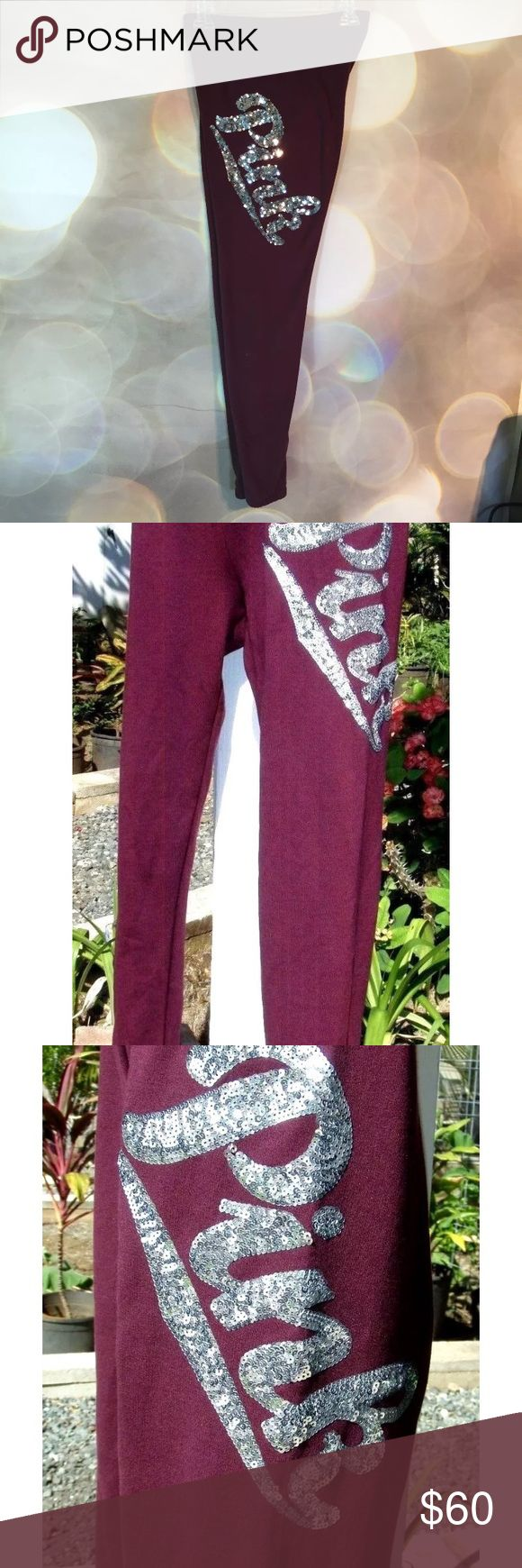 Maroon burgundy bling silver bling skinny pants Maroon or burgundy in color, not sure what the difference is... but these are part of a special edition line & have silver sequins on the hip. They're full length. Has elastic waist band & elastic at the ankles but is a baggier fit at the ankles, they don't hug you skin tight. I love these! But I need to sell them or buy the matching hoodie 4reasonable whichever comes first. So I'm looking to sell or buy! Thank you! **plz note photos are not my…