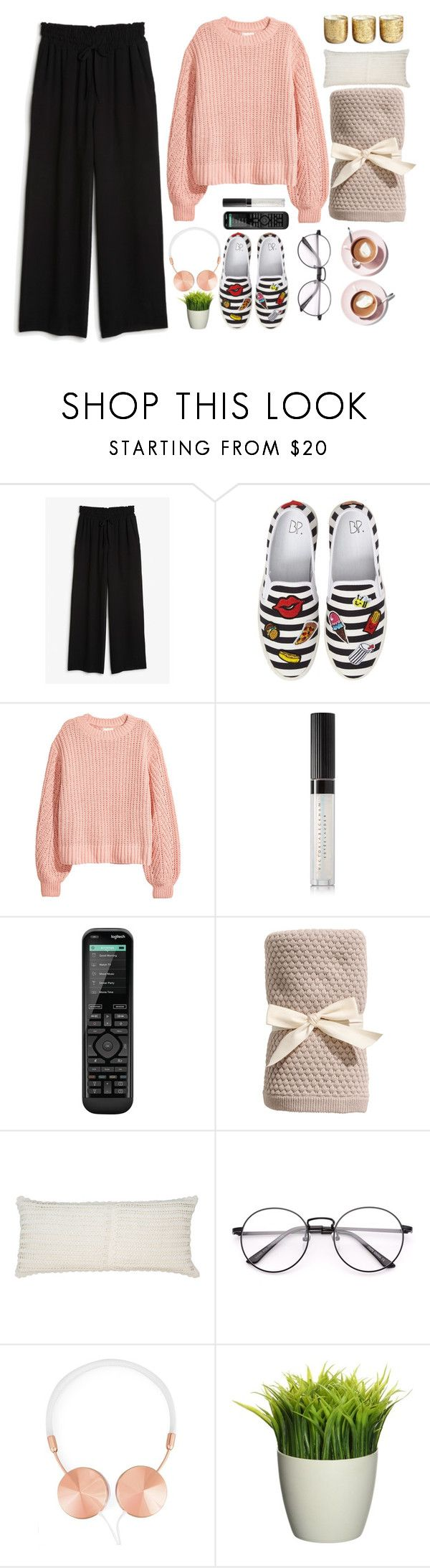 """#movienight"" by elisabetta-negro ❤ liked on Polyvore featuring Monki, BP., H&M, Estée Lauder, Logitech, Pine Cone Hill, Frends, Illume and movieNight"