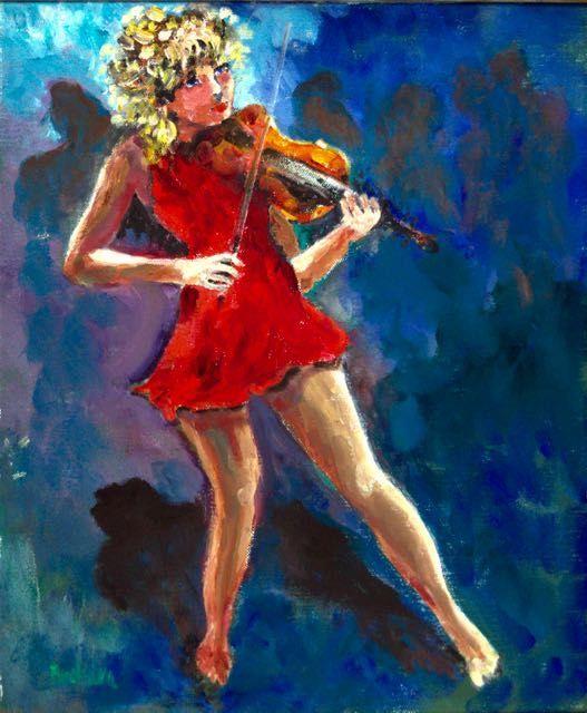 Anke Brokstra (1940-) - Vioolmeisje  Deze jonge violiste heeft een klassieke opleiding genoten maar ze wil in een rockband spelen. Haar levenslust is aanstekelijk je krijgt er een goeie bui van als je naar dit schilderij kijkt. 50 x 60 cm. in perfecte staat in een smaakvolle moderne lijst. Anke Brokstra werd als 14 jarige in de leer gedaan bij de schilder Freek van den Berg (1918-2000). Ze trouwde met hem en werd zijn model. Ze schilderde een omvangrijk oeuvre bij elkaar ondanks dat ze ook…