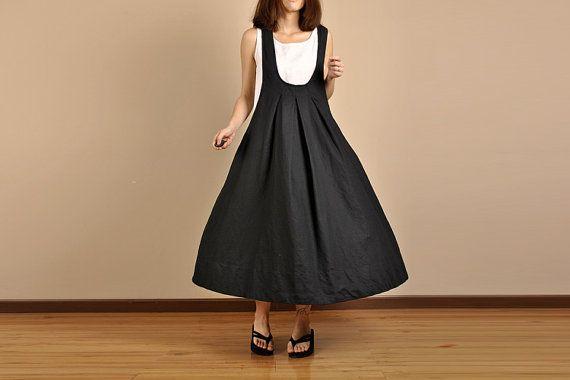 Romantic Linen Long Maxi Dress  Black Women Dress R by deboy2000, $64.00