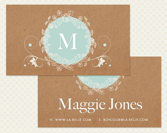 Kraft Paper Flowers Business Card Design. by CrookedLittlePixel