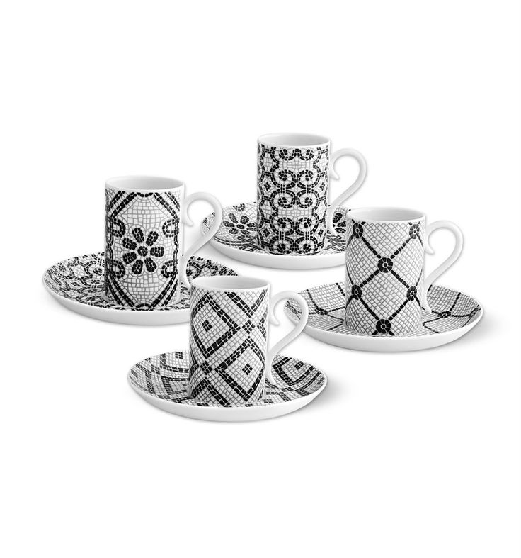 Inspired by patterns from the Portuguese cobblestone pavement, this new collection created by designer Manoela Medeiros is a special tribute to Lisbon. Charting four emblematic routes throughout the capital, this set of four coffee cups reproduces, with precision and creativity, the black and white tracery which is the basis of the most refined patterns, evoking simultaneously its texture.