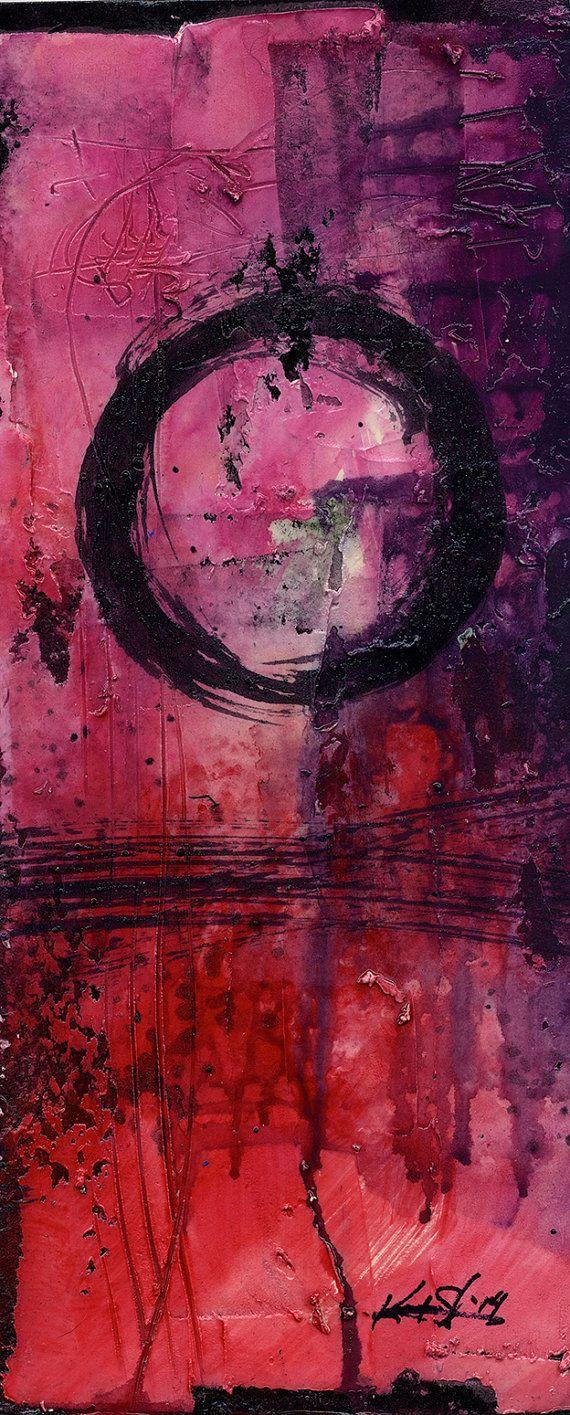 ENSO... Serie... Nr. mm22... Originele hedendaagse Mixed Media Zen cirkel kunst schilderij van Kathy Morton Stanion EBSQ