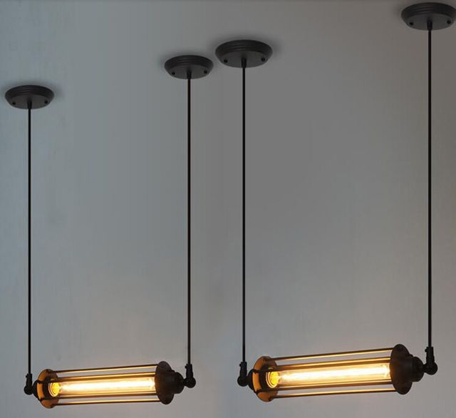 American Vintage Style RH Lofts Pendant Light café Bar Restaurant lumières Steampunk industrielle pendentif en métal Tube lampe Hanglamp