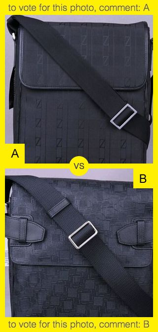 To vote for top photo comment A, to vote for bottom photo comment B. See results at http://swingvoteapp.com/#!polls/856. Click here http://swingvoteapp.mobi/ to install Swingvote mobile app and create your own polls.