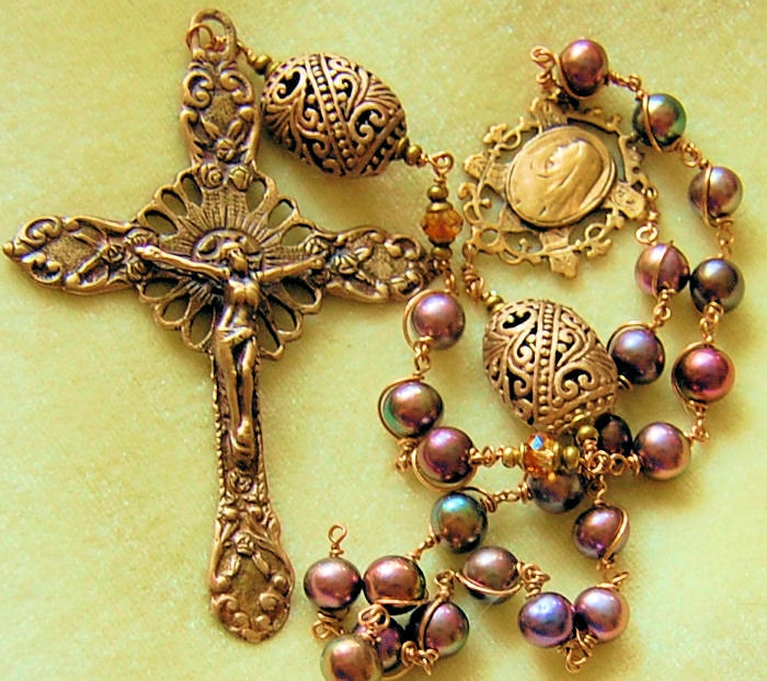 HeartFelt Rosaries: Peacock Pearls and Bronze Rosary