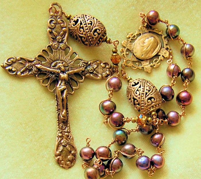 HeartFelt Rosaries: Peacock Pearls and Bronze Rosary