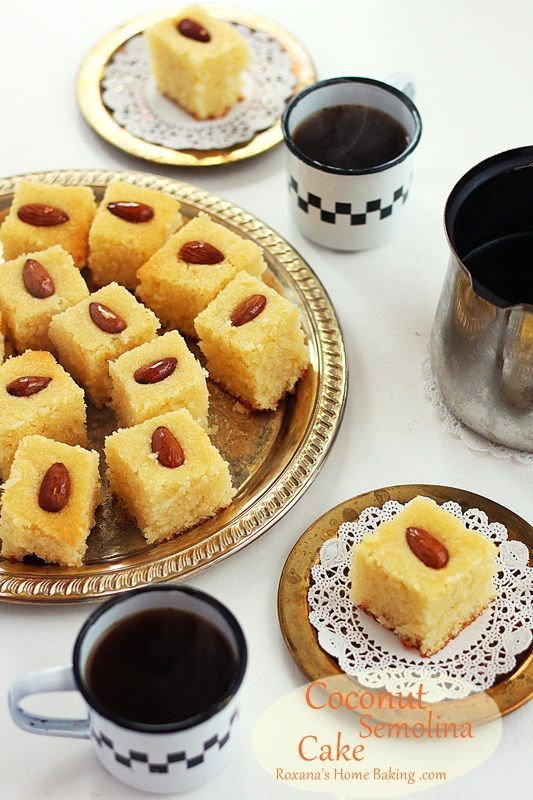 Coconut Semolina Cake from @RoxanaGreenGirl | Roxana's Home Baking