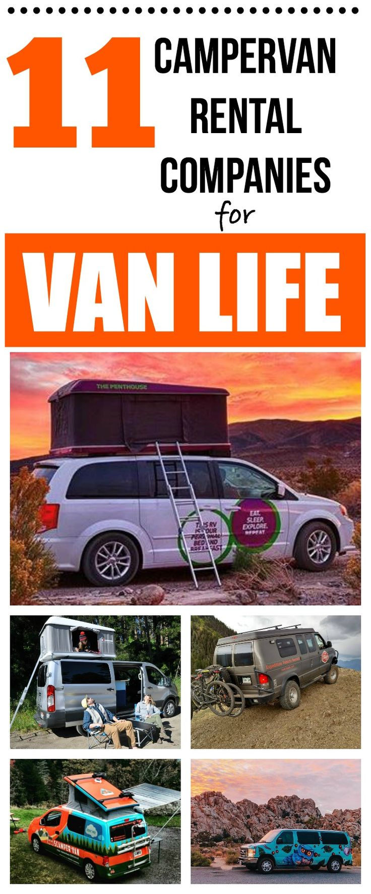 If you want to test out the van life but don't want to do a van conversion yet, check out these 11 campervan rental companies where you can take an amazing van out for a weekend adventure. #vanlife #vanconversion #campervan #campingvan via @thewaywardhome