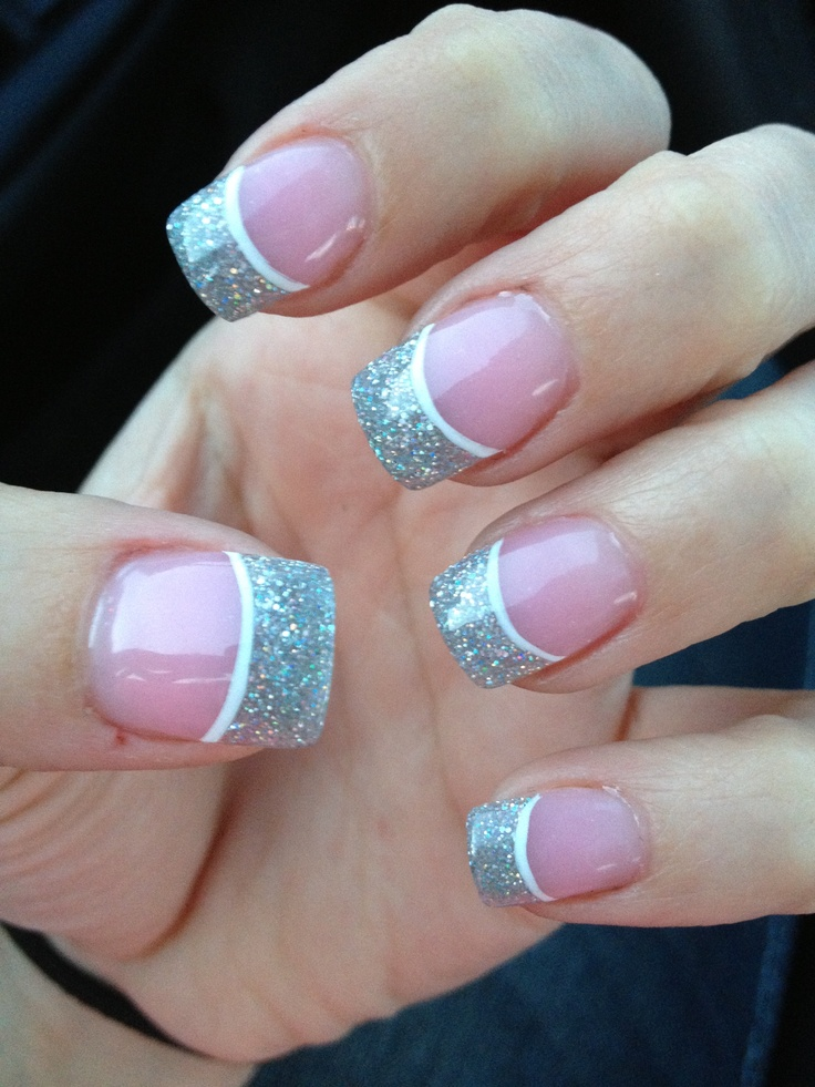 silver and white prom nails! | Hard as nails :) | Pinterest