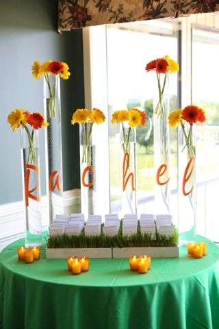 oh so fabulous! Sporty girly bat mitzvah spring colors lacrosse soccer basketball theme party bat mitzvah gerbera daisy