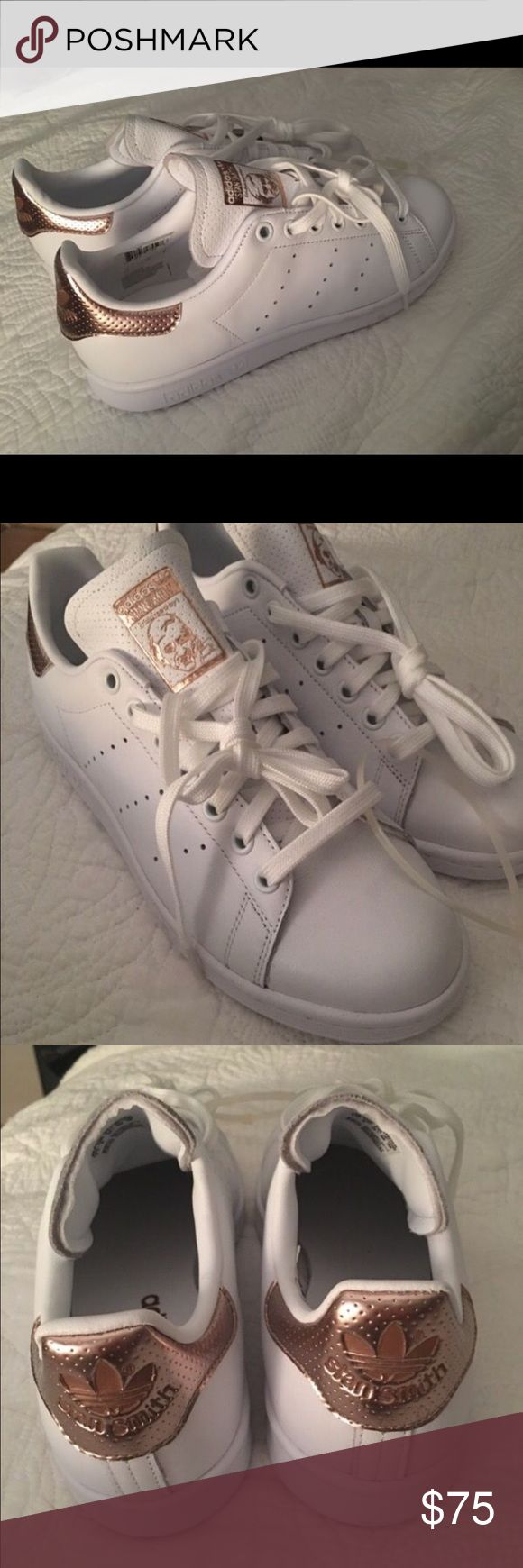 Rose Gold Stan Smith Adidas Brand new Stan Smith w/ Rose Gold detailing on tongue and heel.  (Tag says size 7.5, but will fit women's 8-8/12) Adidas Shoes Athletic Shoes