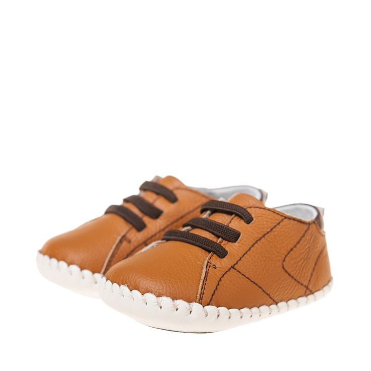 Little Blue Lamb | Bailey | Baby boys shoes We just adore the stunning tan leather and elastic faux lace combo in our Bailey soft soles for baby boys, hand crafted by Little Blue Lamb.