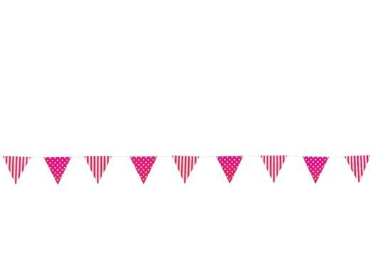 Hot Pink Striped & Polka Dot Pennant Banner :   Pennants include polka dots on one side and an alternating stripe & dot pattern on the other.  17.8cm pennants x 274cm long