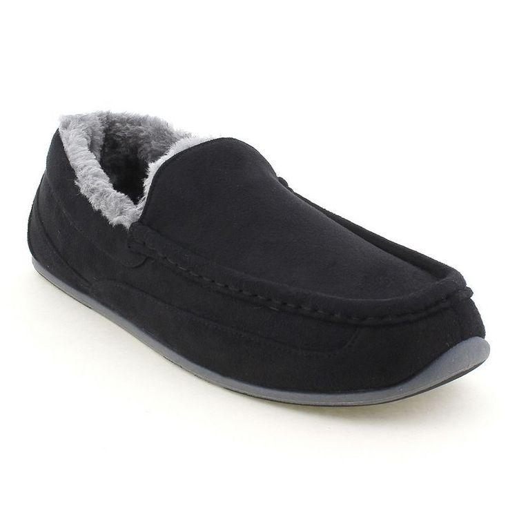 Deer Stags Aspen Men's Moccasin Slippers, Size: medium (10), Black