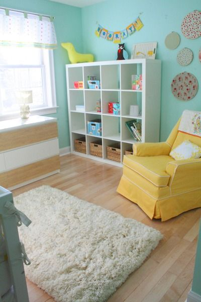 This was my inspiration for Jack's baby room. Paint- Benjamin Moore #618 Robin's Nest