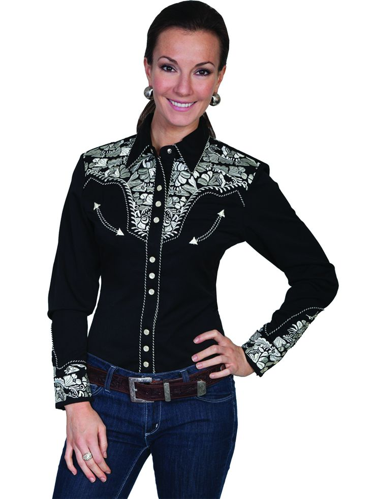 Scully Western Womens Silver Polyester L/S Floral Stitch Western Shirt