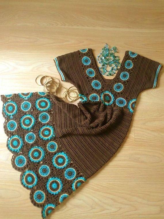 Robe d'Eté Femme Bleu Turquoise/Chocolat Tricot au Crochet Fait-Main
