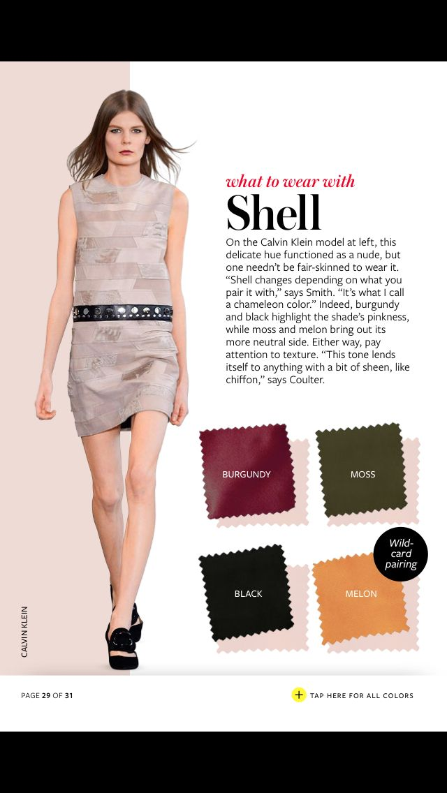 "In Style's Fall Color Crash Course: ""What to Wear With Shell"""
