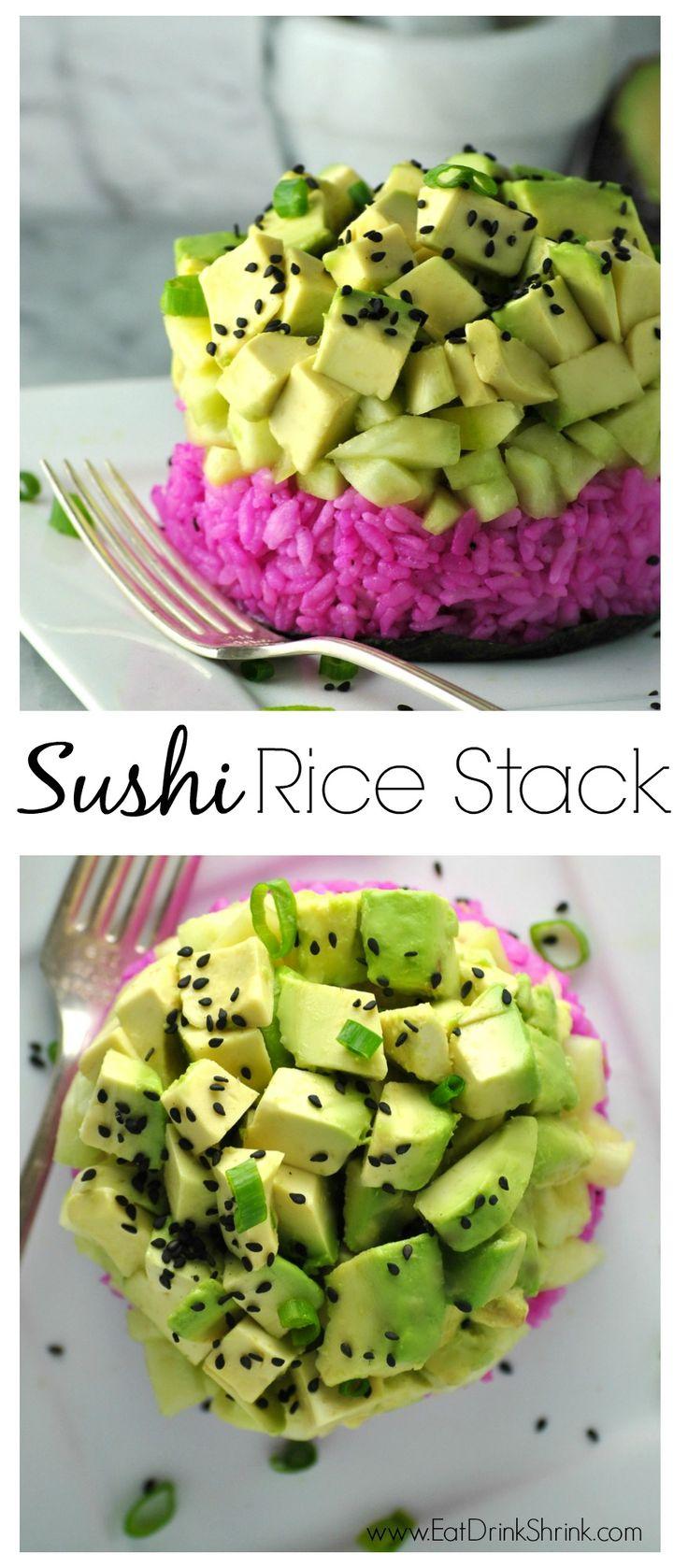 Vegan Pink Dragonfruit Sushi Rice Stack