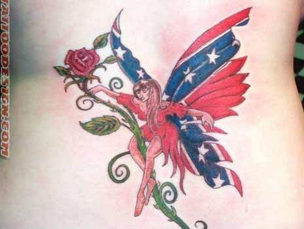 Rebel Flag Fairy - Cool Rebel Flag Tattoos, http://hative.com/30-cool-rebel-flag-tattoos/,