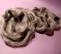 Light gray straight mohair.  http://barbspencerdolls.com