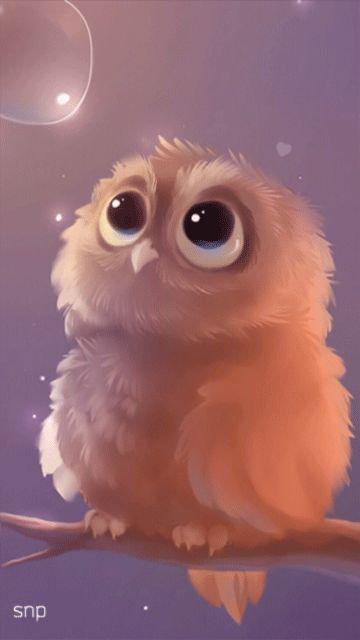 Совенок и мыльный пузырь! - анимация на телефон №1166552