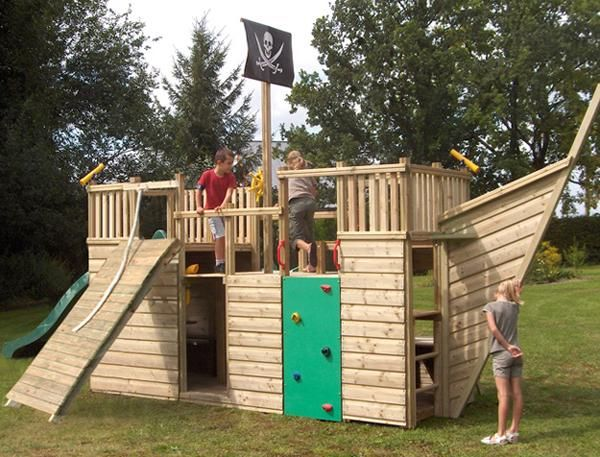 Pirate ship play house design adding fun to kids backyard How to build outdoor playhouse