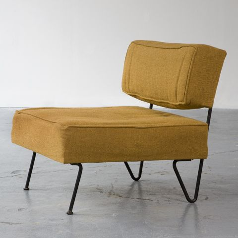 """Greta Magnusson Grossman, USA, 1951  Lounge chair with wrought iron frame and upholstered seat. (Seat 16"""" H)    28"""" L x 28"""" W x 27"""" H  /  71.12cm L x 71.12cm W x 68.58cm H"""