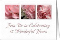 Join Us in Celebrating 15 Wonderful Years, Wedding Anniversary Invitation, Pink Flower on White Background Card by Greeting Card Universe. $3.00. 5 x 7 inch premium quality folded paper greeting card. Wedding Anniversary invitations to celebrate any upcoming event are available at Greeting Card Universe. Make your loved ones feel special with a custom invitation. Turn to Greeting Card Universe for all your Wedding Anniversary invitation needs. This paper card includes the fol...
