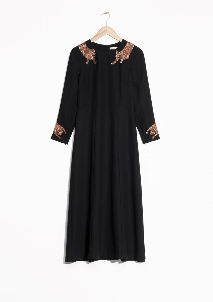& Other Stories image 2 of Sequin Feline Dress in Black