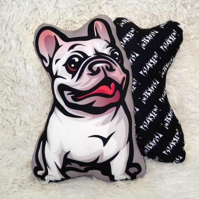 Decorative Dog Pillow Cushion French Bulldog white cuddly mascot by PSIAKREW on…