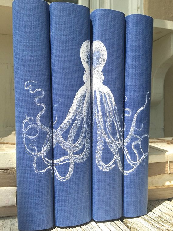 Octopus Decorative Books  Blue Decorative Books by ArtfulLibrary