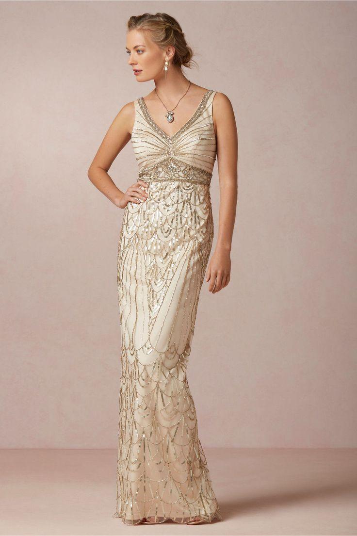 Bhldn maxine champagne old hollywood gatsby wedding gown for Wedding dresses like bhldn