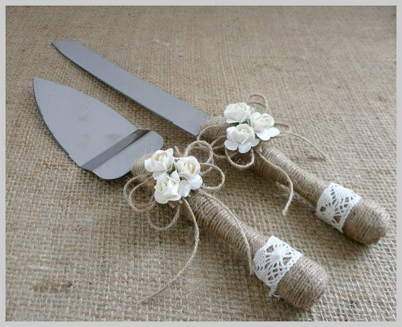 Cake Serving Set Cutting Set Rustic Knife Set by HappyWeddingArt