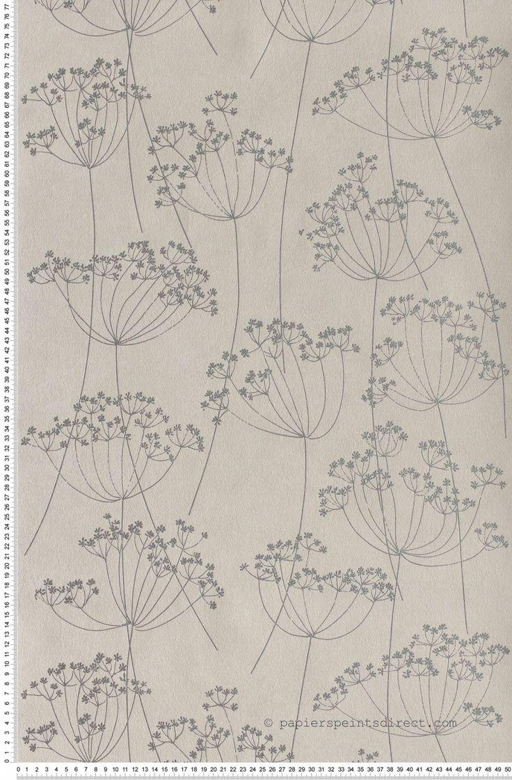Fleurs des champs gris argent - Papier peint Mémory d'AS Création