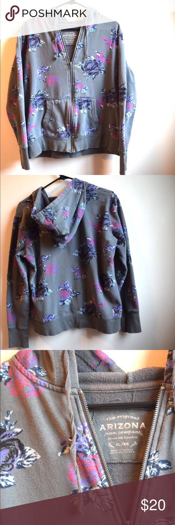 Arizona Jeans Gray Floral Hoodie Size XL This hoodie has the perfect combination of comfort and florals! Feel free to make an offer! Arizona Jean Company Tops Sweatshirts & Hoodies